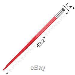 2pcs 49 Square Hay Bale Spear 3000lbs Capacity 1 3/4 Wide Skidsteer Spike Fork