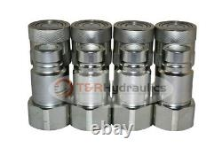 4 PK of 1/2 Bobcat Skid Steer Flat Face Hydraulic Quick Couplers