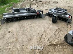 7' Skid Steer Power Rake For Bobcat, Kubota, CAT JD Harley skid steer