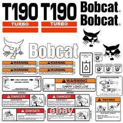 Bobcat T190 TURBO Skid Steer Set Vinyl Decal Sticker 25 PC SET + FREE APPLICATOR