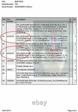 Bobtach Fast-Tach Lever Kit RHS fits Bobcat 731 732 741 742 743 751 753 763 773