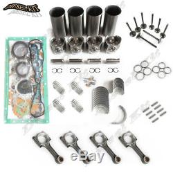 Caterpillar 3044C 3044CT Engine Rebuild Kit&4 Rods For Cat 252B 246B Skid Loader