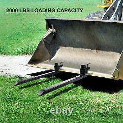 Clamp on Pallet Forks Loader Bucket 2000lbs 43 Heavy Duty Chain Skidsteer
