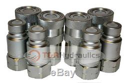 Flat Face Hydraulic Quick Couplers 1/2 Bobcat/Skid Steer (4pk)