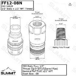 1/2 Hydraulique Plat Face Connexion Rapide Coupleurs Accouplements Skidsteer Bobcat 2 Sets