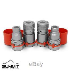 3/4 Sae Plat Face Hydraulique Quick Connect Coupler Accouplement 2 Jeux Chargeurs Compacts