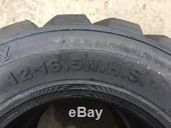 4 Nouveau 12-16.5 Mini Pneus 12 Plis 12x16.5 22 / 32e Pour Bobcat Et D'autres