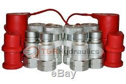 4 Pk 1/2 Bobcat Chargeuses Compactes Plats Face Avec Attaches Rapides Hydrauliques Casquettes Et Bouchons