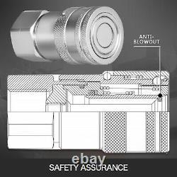 4x 3/4 Sae Paire Hydraulique Visage Plat Coupleur Rapide Stee Bobcat Iso 16028
