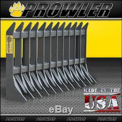 72 Prowler Heavy Duty Skid Steer Racine Rake Bobcat, New Holland, Mustang, Etc