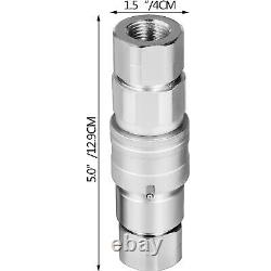 8 Ensembles 1/2 Npt Skid Steer Flat Face Hydraulic Quick Connect Couplers Pour Bobcat