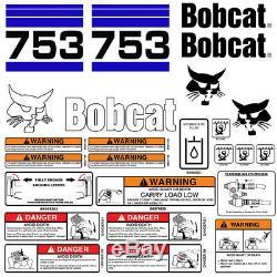 Bobcat 753 V2 Skid Steer Set Décalque De Vinyle Autocollant Bob Cat USA 25 Set Pc