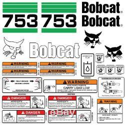 Bobcat 753 V2 Skid Steer Set Décalque De Vinyle Chat Bob Autocollant Made In USA 25 Set Pc