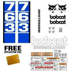 Bobcat 763 V1 Skid Steer Set Sticker Vinyl Decal Bob Chat Made In USA + Outils Gratuits