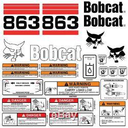 Bobcat 863 V2 Skid Steer Set Décalque De Vinyle Autocollant Bob Cat USA 25 Set Pc