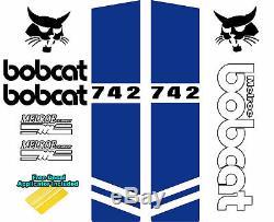 Bobcat Melroe 742 Skid Steer Set Décalque De Vinyle Autocollant Signe 9 Pc Set + Applicateur
