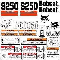 Bobcat S250 Turbo Skid Steer Set Vinyl Decal Sticker 25 Pc Set + Applicator Gratuit