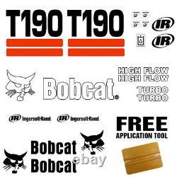 Bobcat T190 Skid Steer Set Vinyl Decal Sticker 20 Pc Set + Applicateur Decal Gratuit