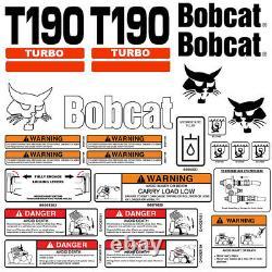 Bobcat T190 Turbo Skid Steer Set Vinyl Decal Sticker 25 Pc Set + Applicator Gratuit