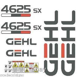 Gehl 4625 Sx Mini Chargeur Steer, Laminé, Décalcomanies Kit Sticker Set