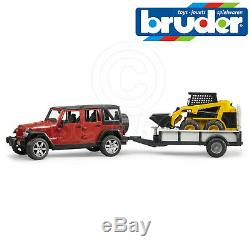 Jouets Bruder 02925 Jeep Wrangler Rubicon + Remorque + Cat Mini Chargeuse 116