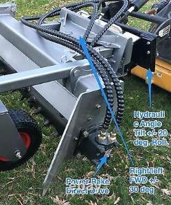 Mini Skid Steer Power Rake Pour Toro Dingo, Boxer, Vermeer, Dw, Bobcat Mt Harley
